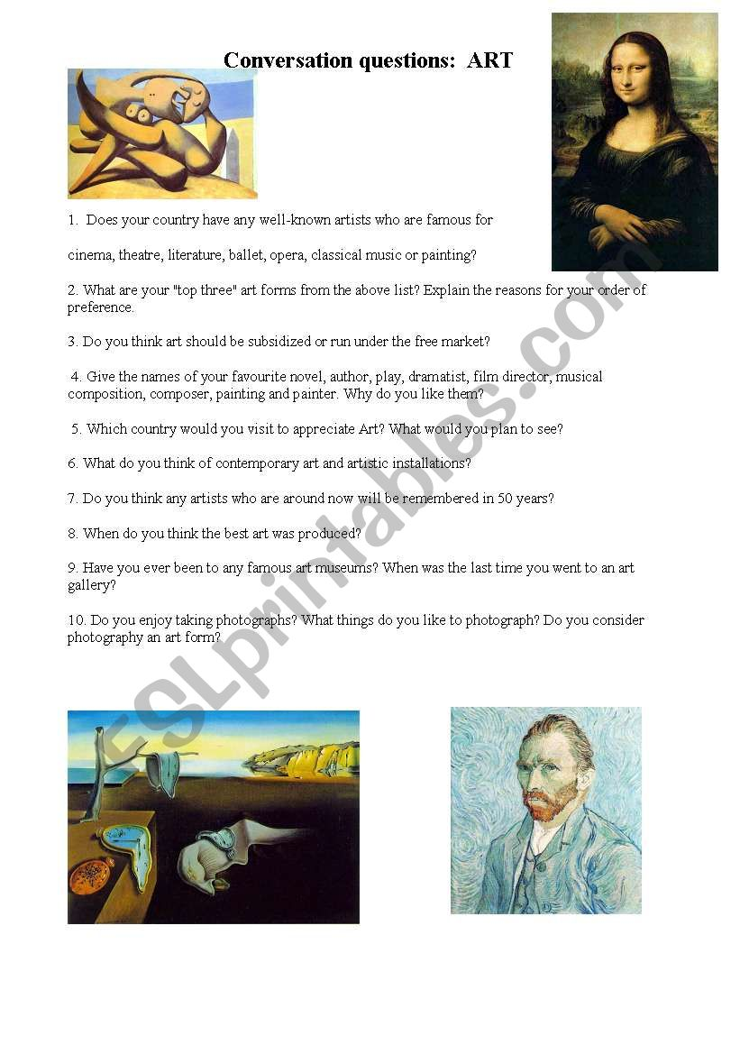Conversation questions on Art worksheet
