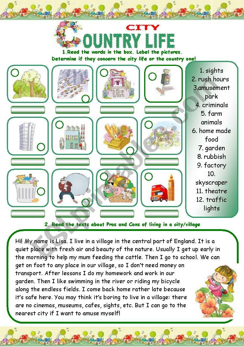 COUNTRY/CITY LIFE (3 pages) worksheet
