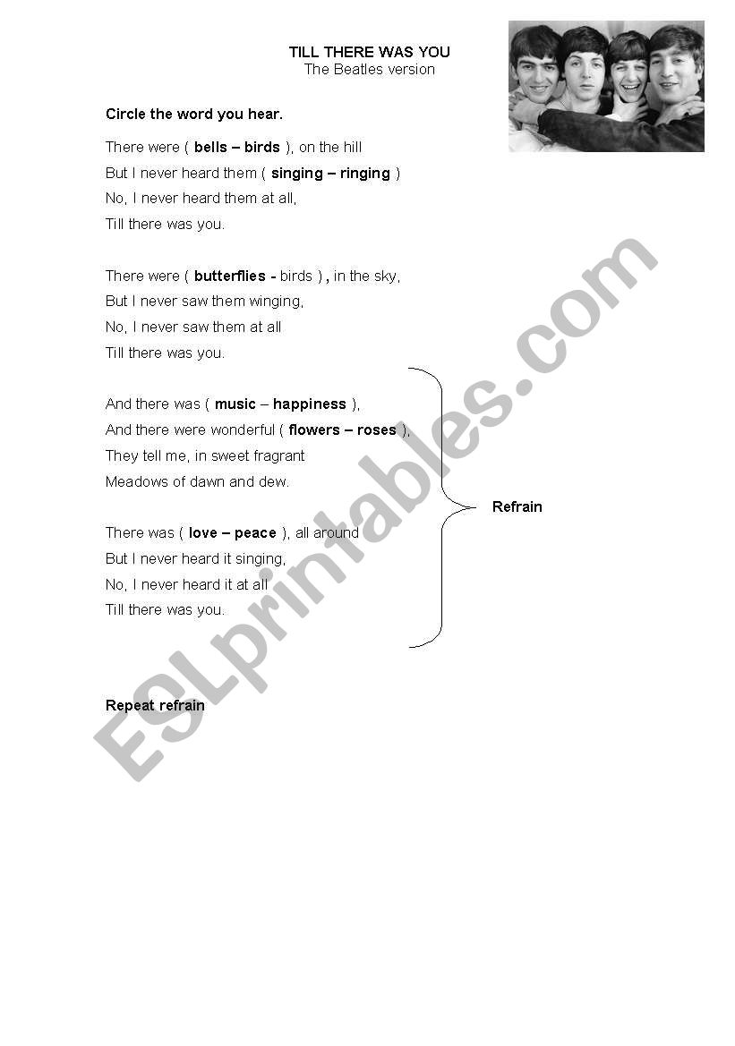 Till There Was You worksheet