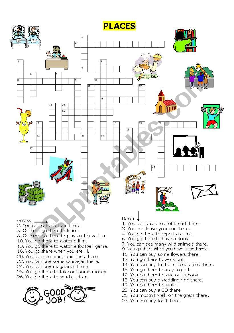 places in a town crossword esl worksheet by jecika. Black Bedroom Furniture Sets. Home Design Ideas