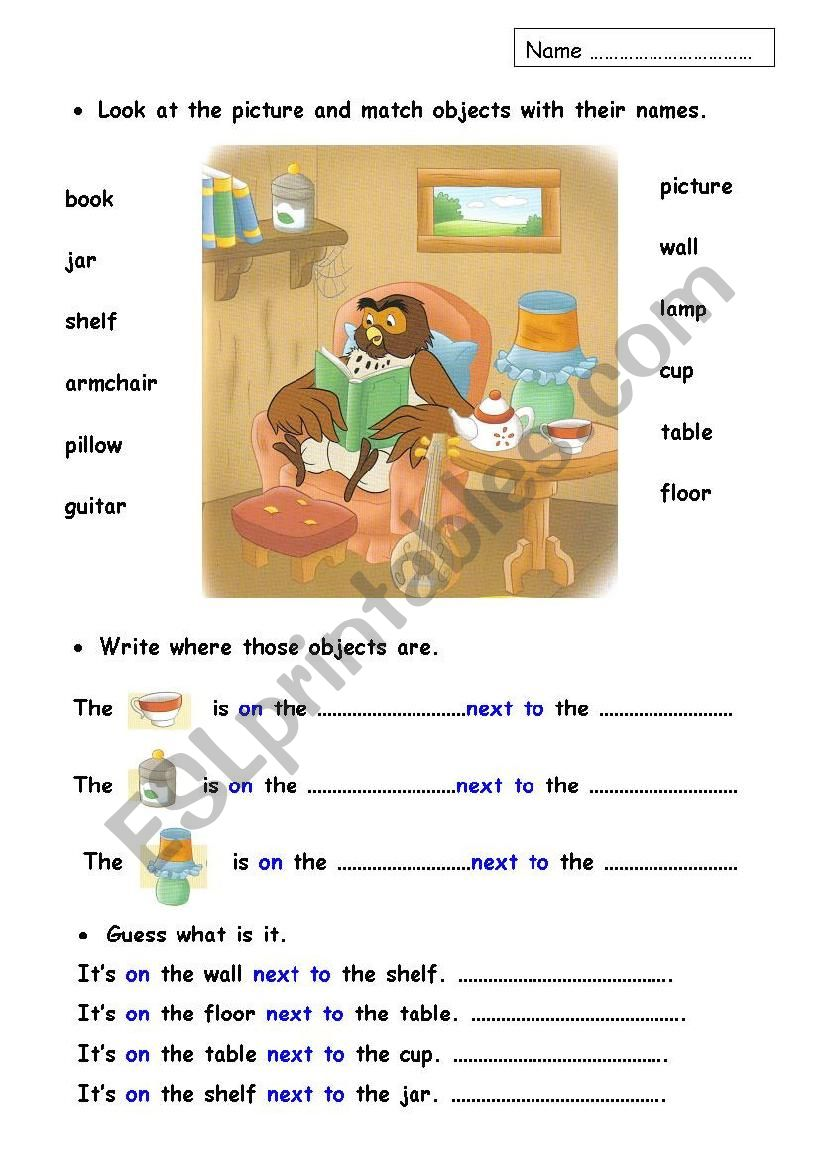 Prepositions and furniture worksheet