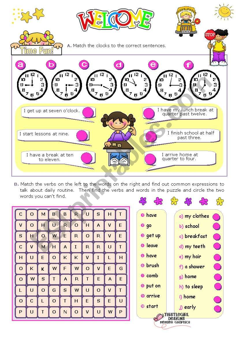 Time Fun Activities For Elementary And Lower Intermediate Stds