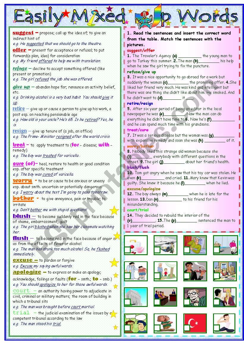Easily Mixed Up Words worksheet