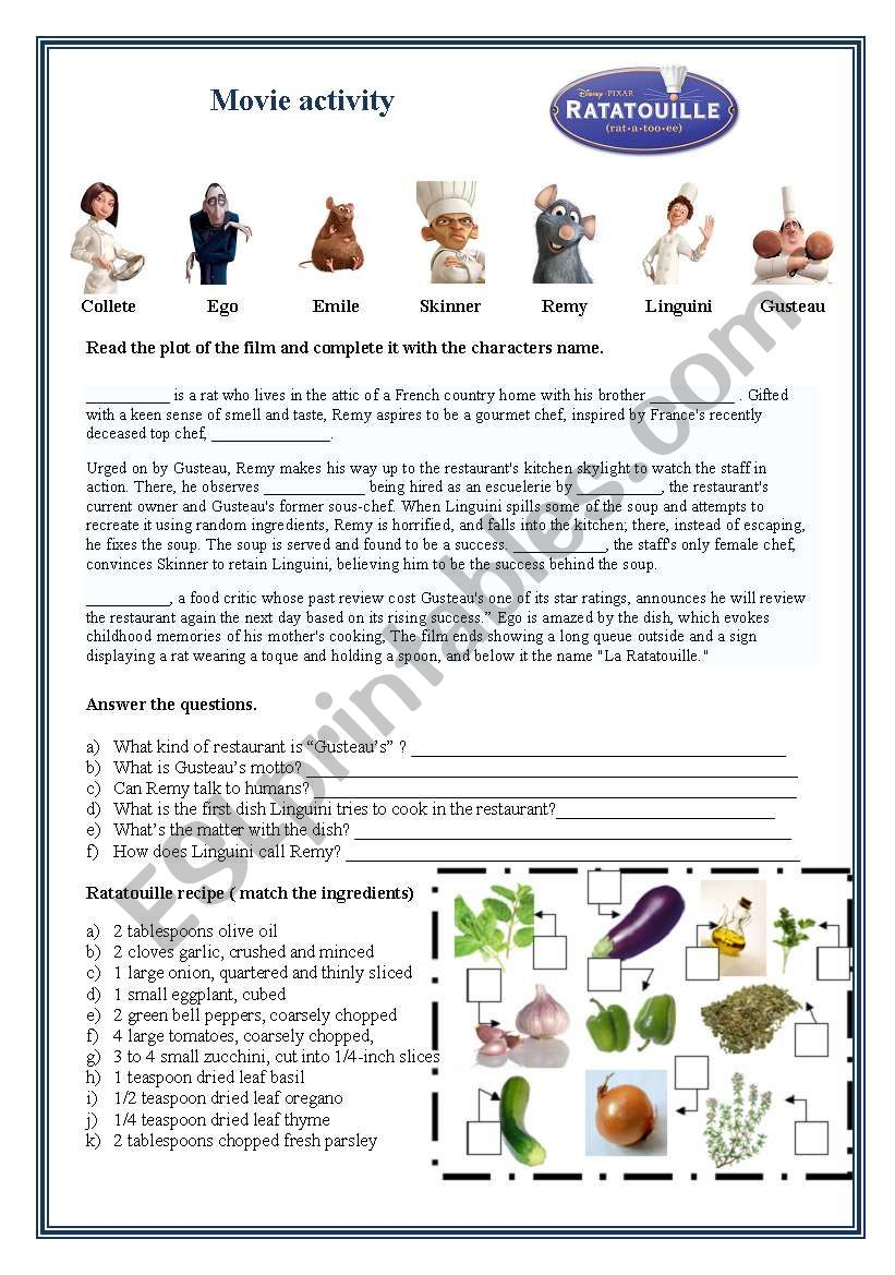Ratatouille Movie Activity Esl Worksheet By Macedo Bia