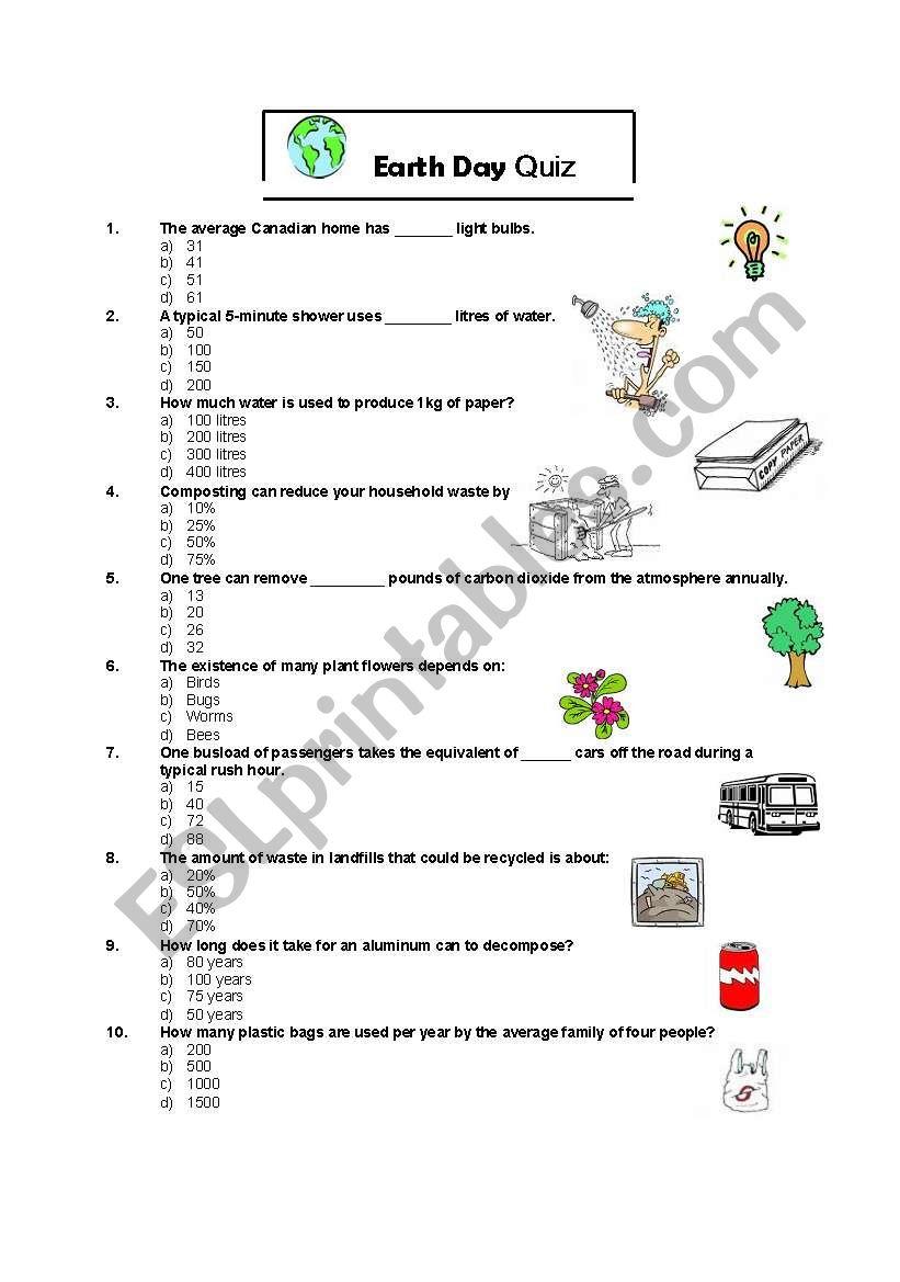 Earth Day Quiz - ESL worksheet by jeneenesl