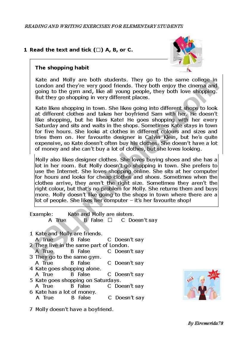 READING SHOPPING (ket format) worksheet