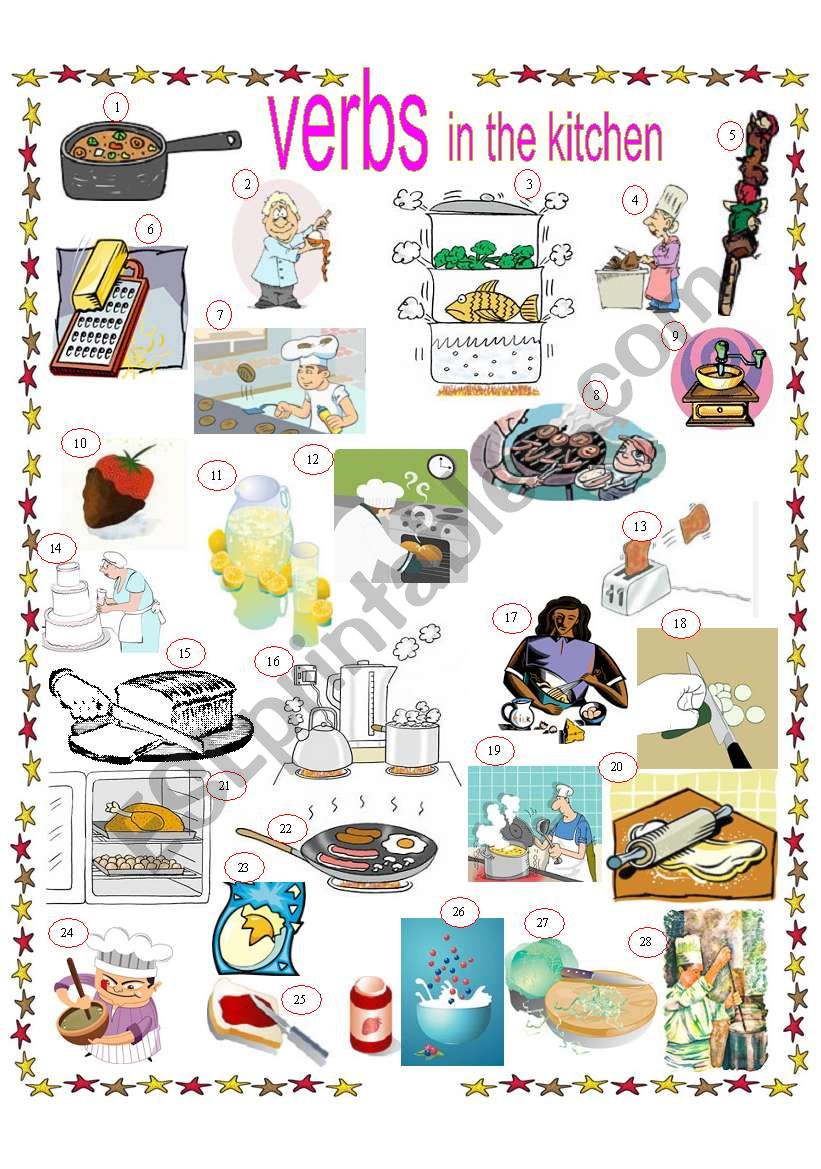 VERBS IN THE KITCHEN, EXERCISES AND KEYS INCLUDED