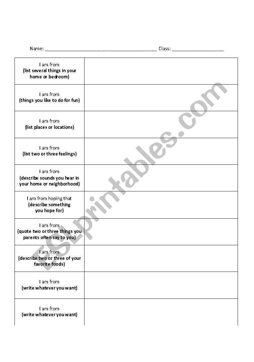 English worksheets I am From Poem Template