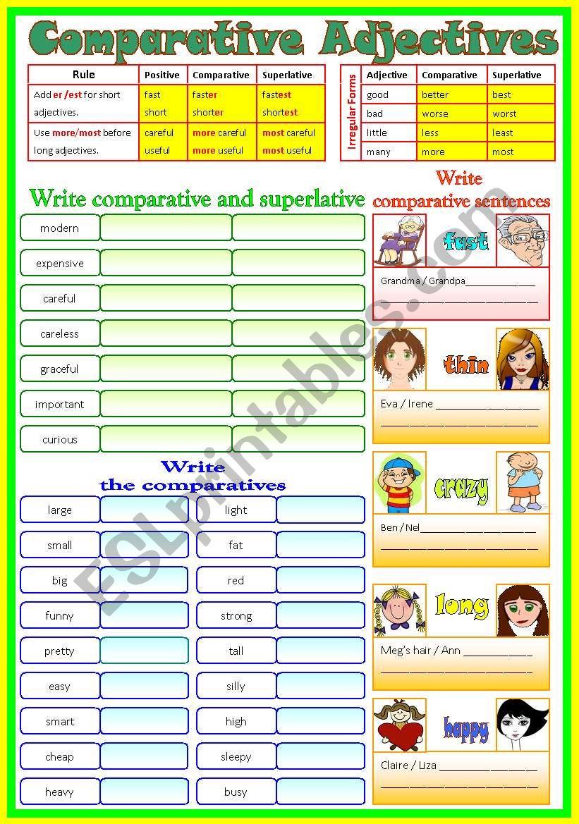 Comparative Adjectives _ (B/W & Keys)