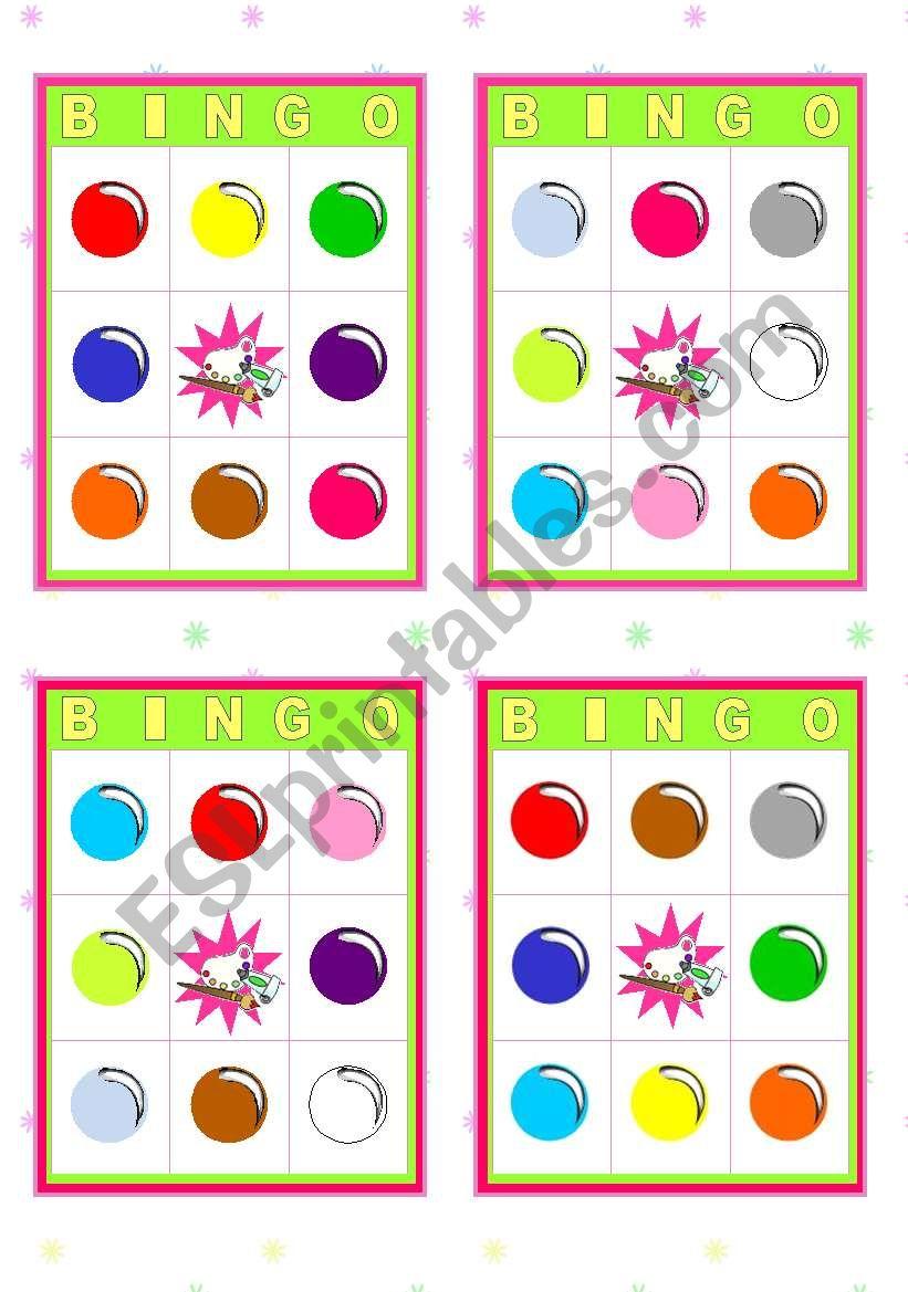 Bingo Cards  -  Colours worksheet