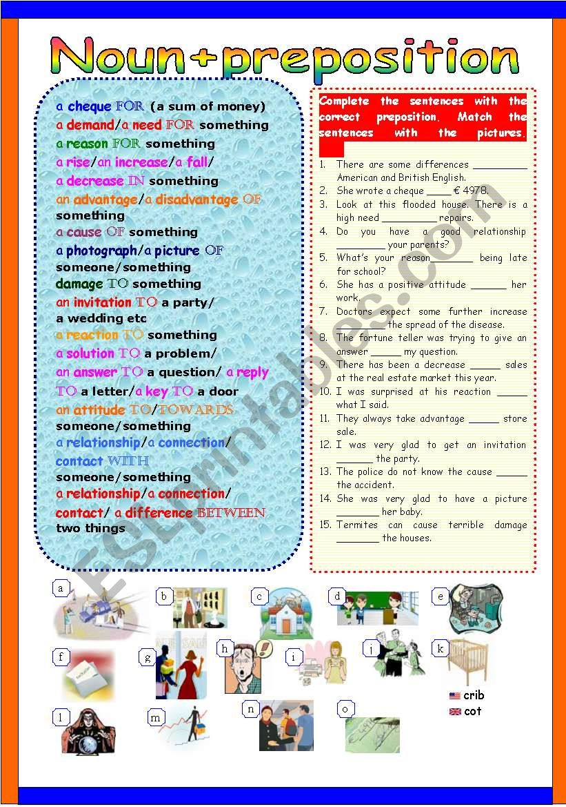 Noun+preposition worksheet