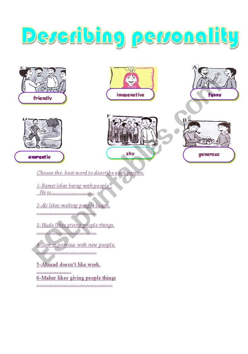 English Worksheets Describing Personality