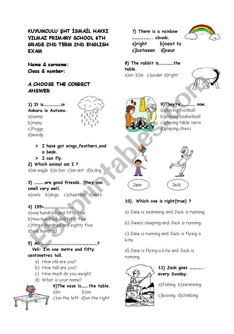 6th grade ENGLISH EXAM FOR MY ENGLISH COURSE BOOK
