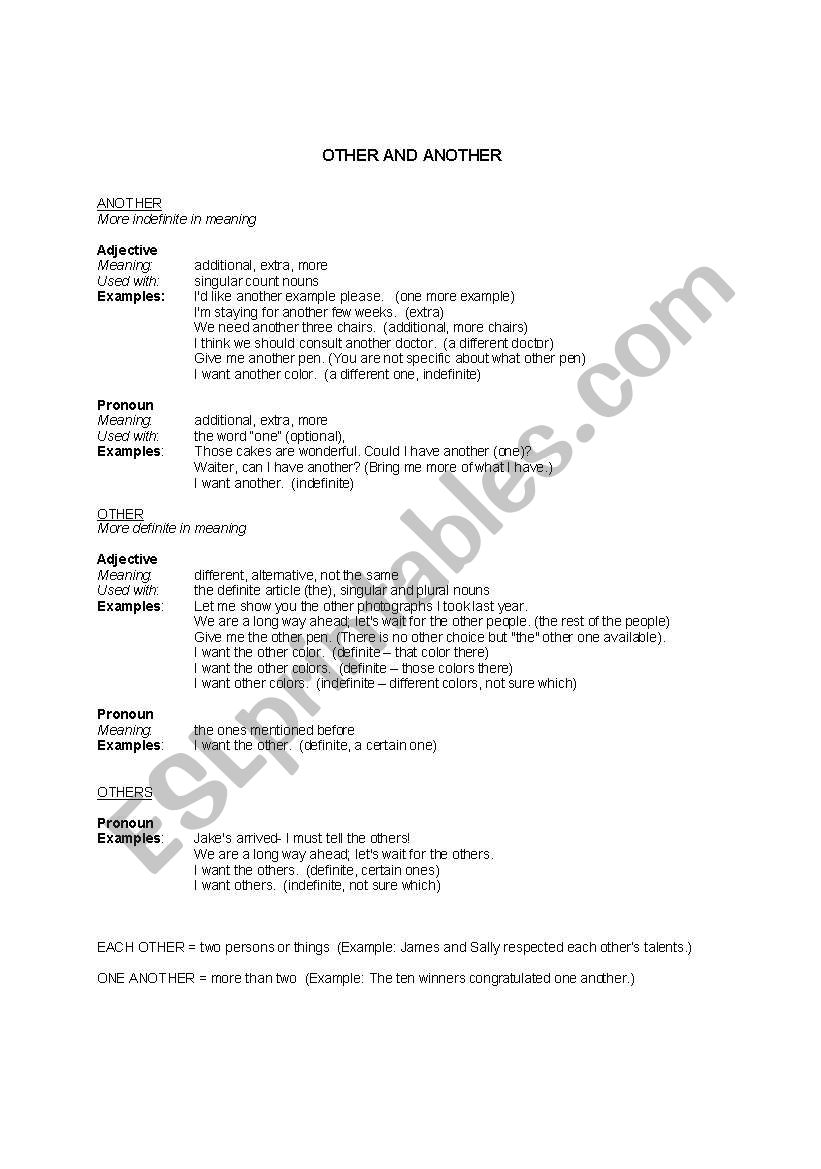 Other versus Another - ESL worksheet by wjshades