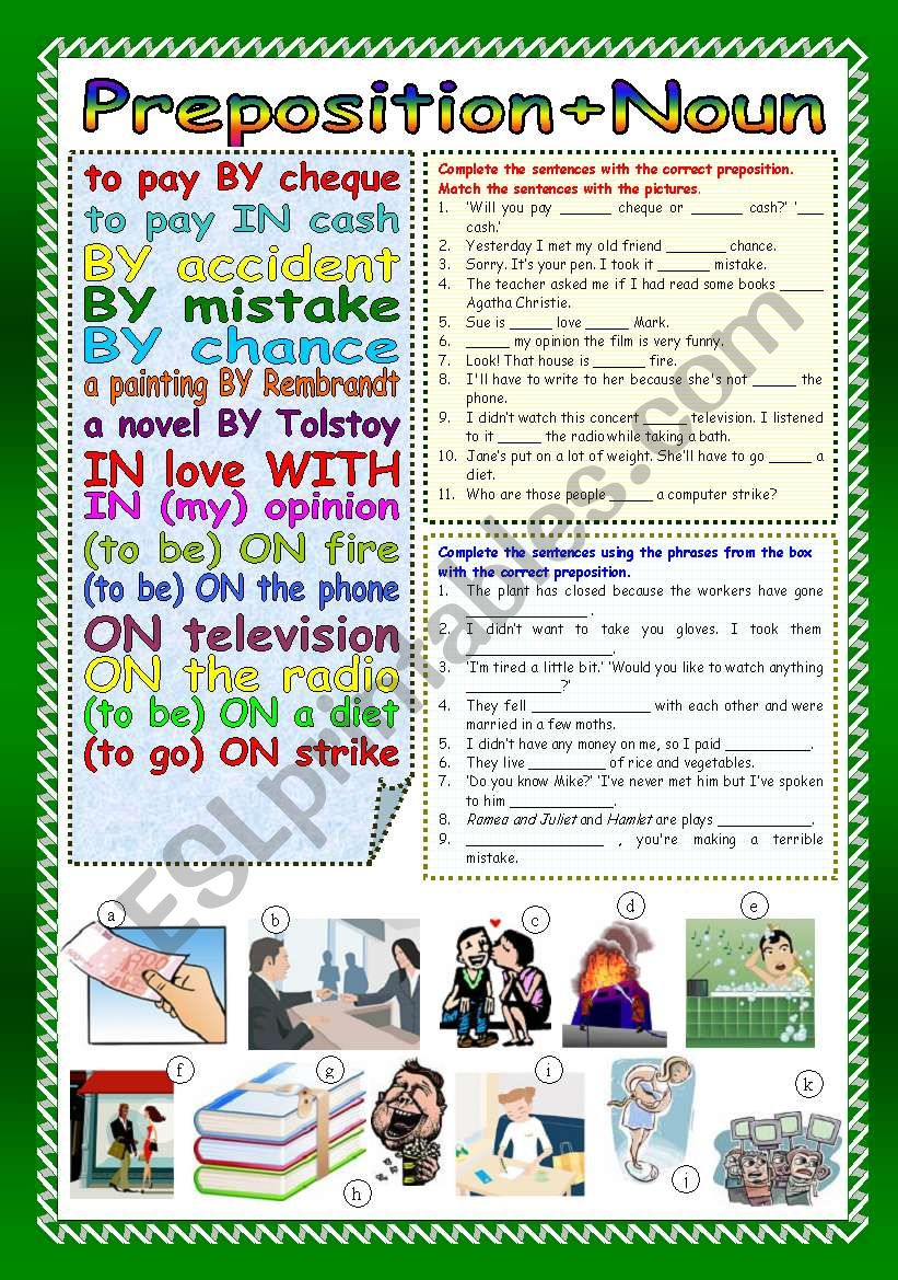 Preposition+Noun (Part 1) worksheet