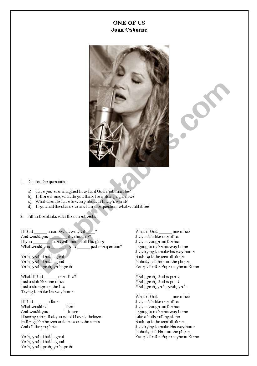 Joan Osborne - One Of Us worksheet