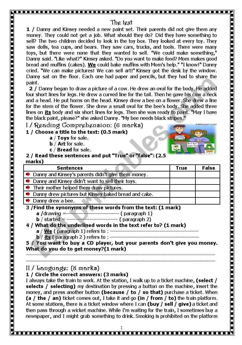 Full Term Test worksheet