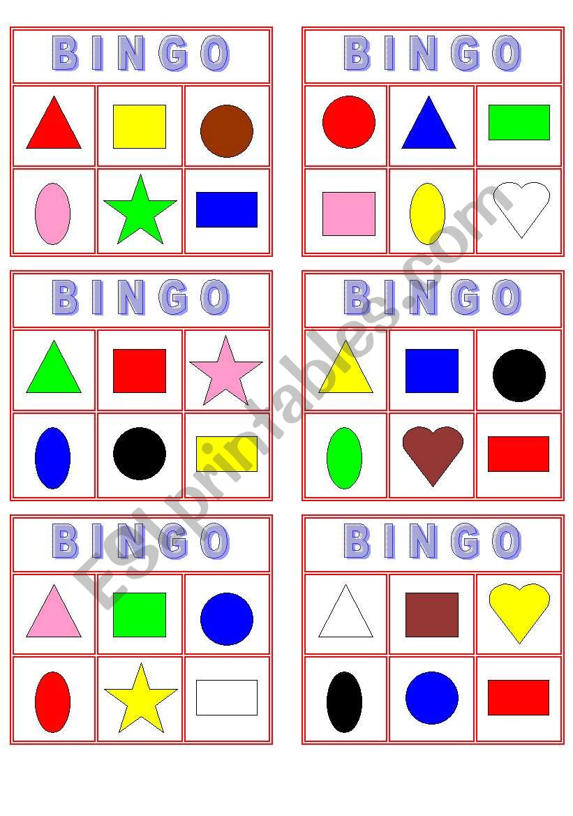 image regarding Shape Bingo Printable titled Shade Form Bingo! - ESL worksheet by way of Yarith