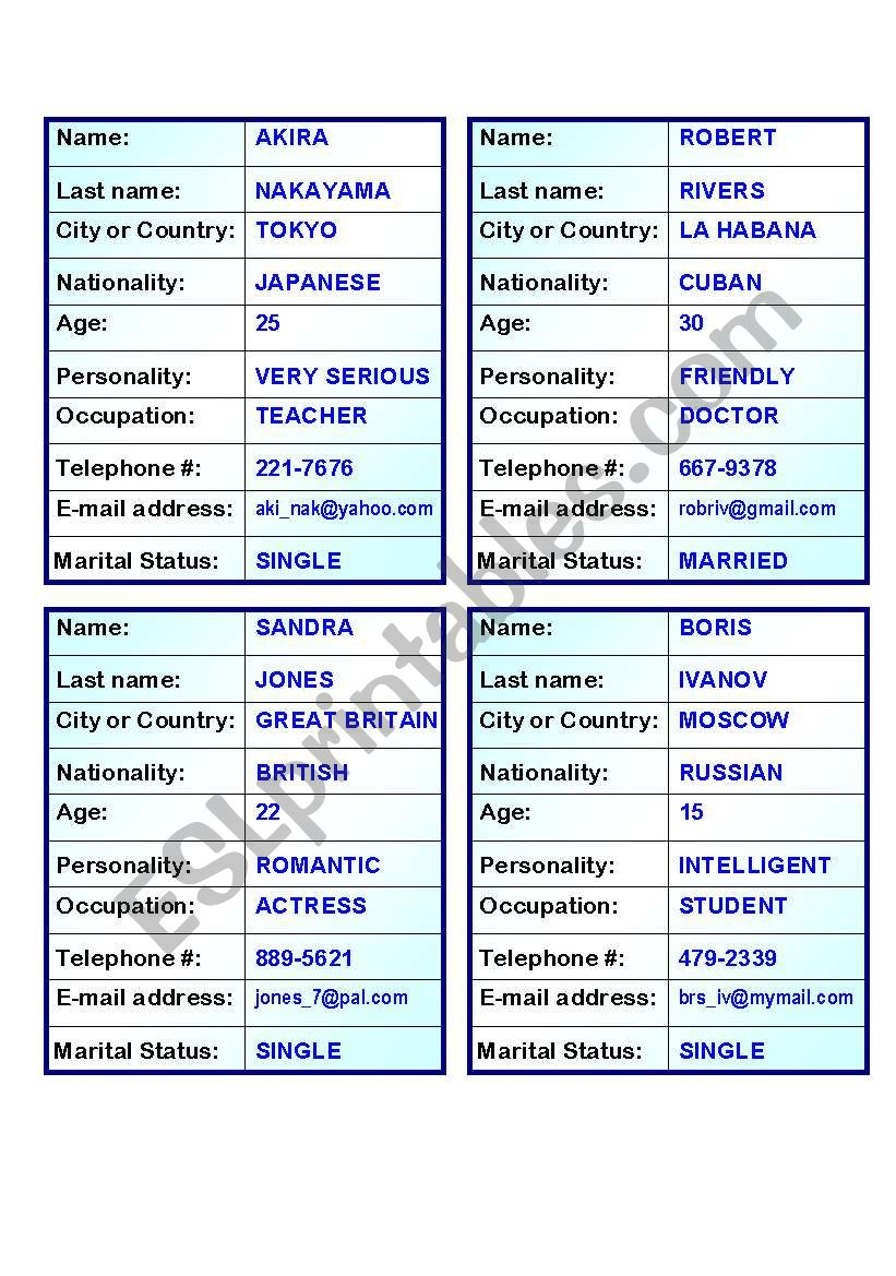 20 Verb TO BE personal information  cards for Oral Exam (5 pages)