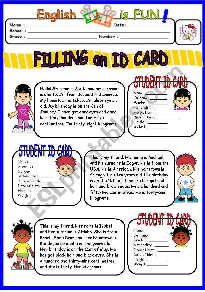 Filling an ID CArd worksheet