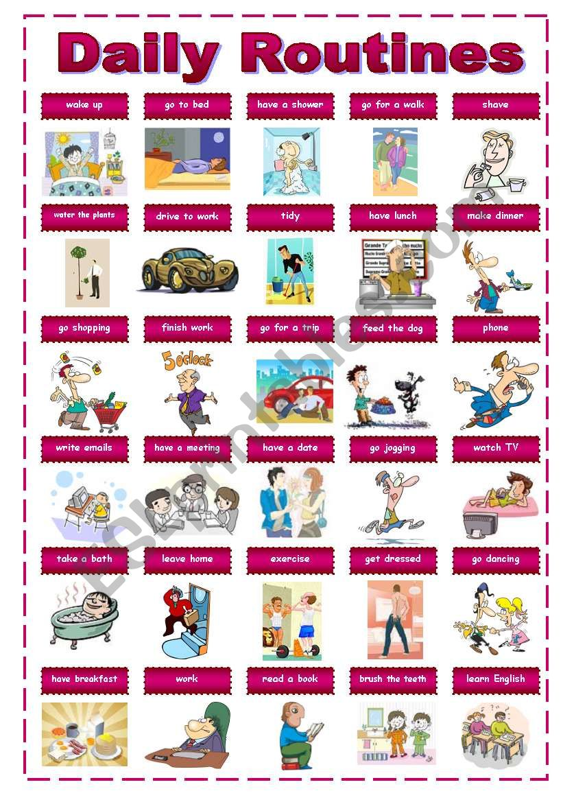 Daily Routines Pictionary worksheet