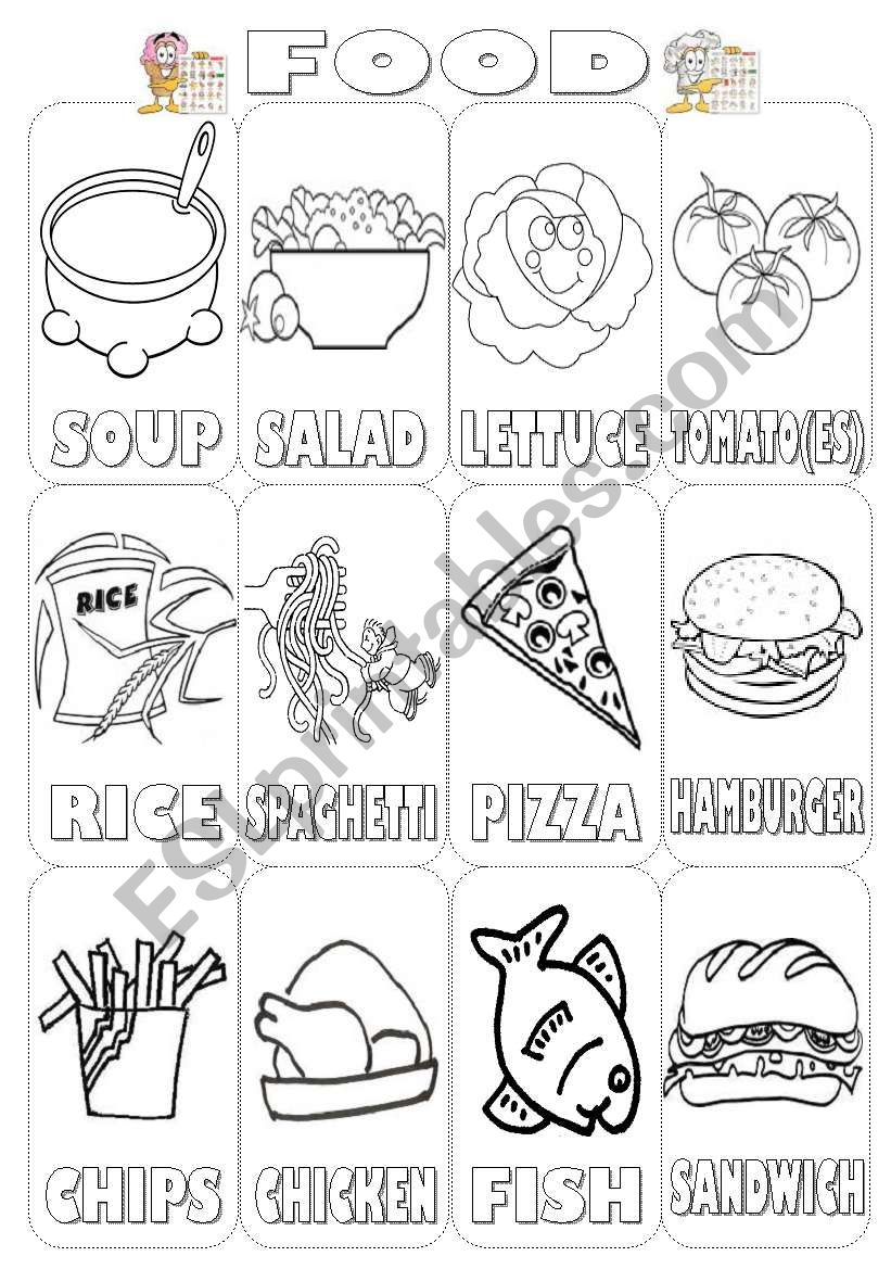 Food Pictionary Colouring (2 pages)