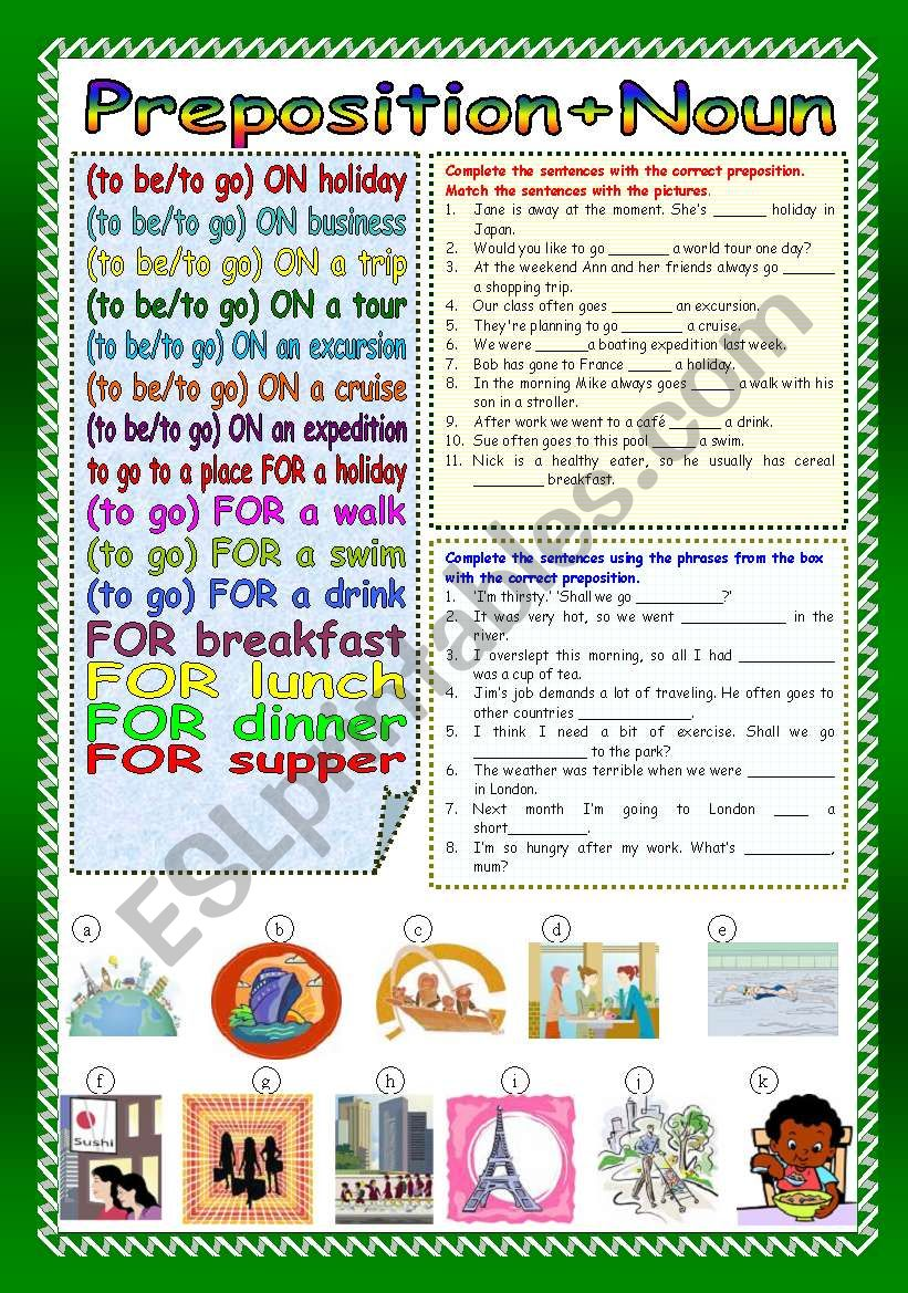 Preposition+Noun (Part 2) worksheet