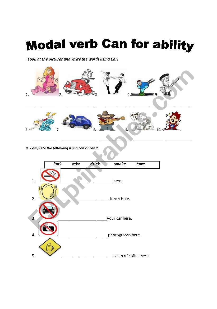 Modal verb can for ability worksheet