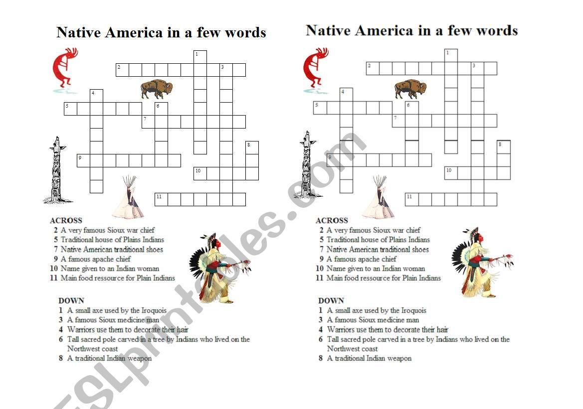 Native Americans crossword worksheet