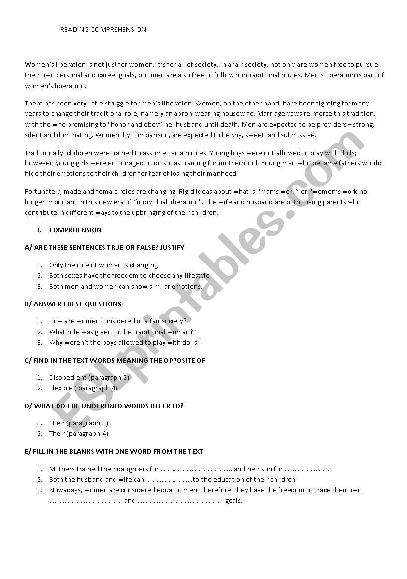 WOMEN LIBERATION worksheet