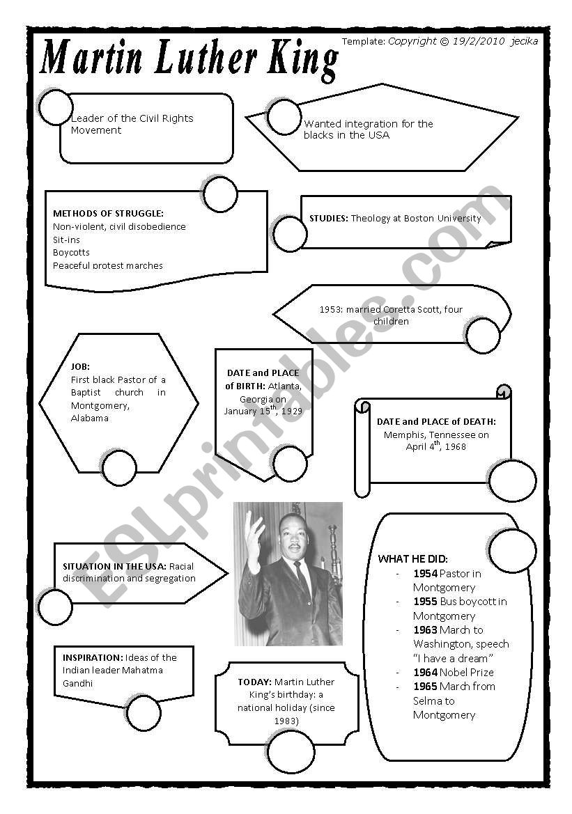 Martin Luther King Esl Worksheet By Marisaba