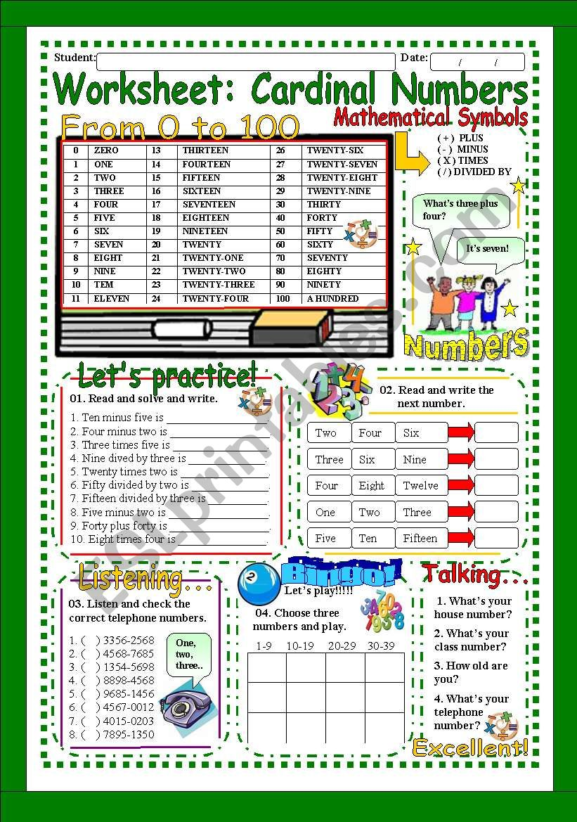 Worksheet: Cardinal Numbers from 1 to 100 (Exercise + Bingo + Oral )