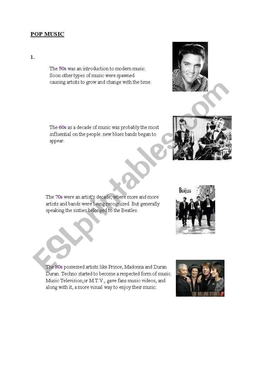 English worksheets: Music types from 50s till 2000