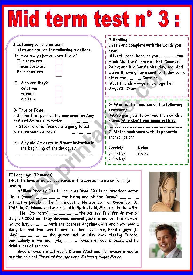MID TERM TEST N 3 worksheet