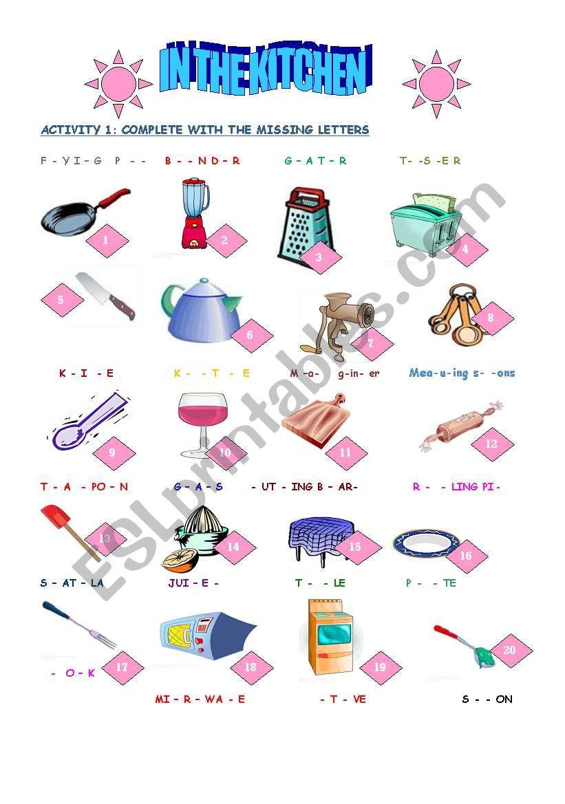 in the kitchen worksheet