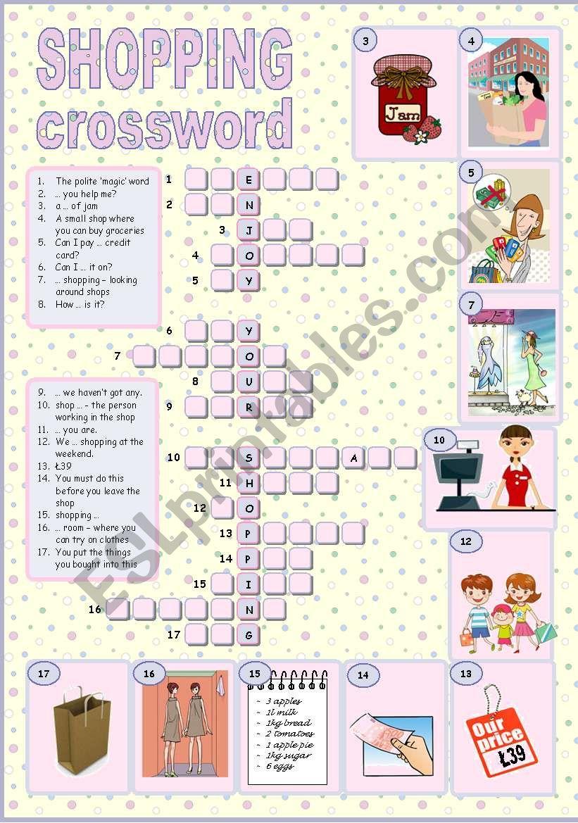 shopping crossword esl worksheet by tecus. Black Bedroom Furniture Sets. Home Design Ideas