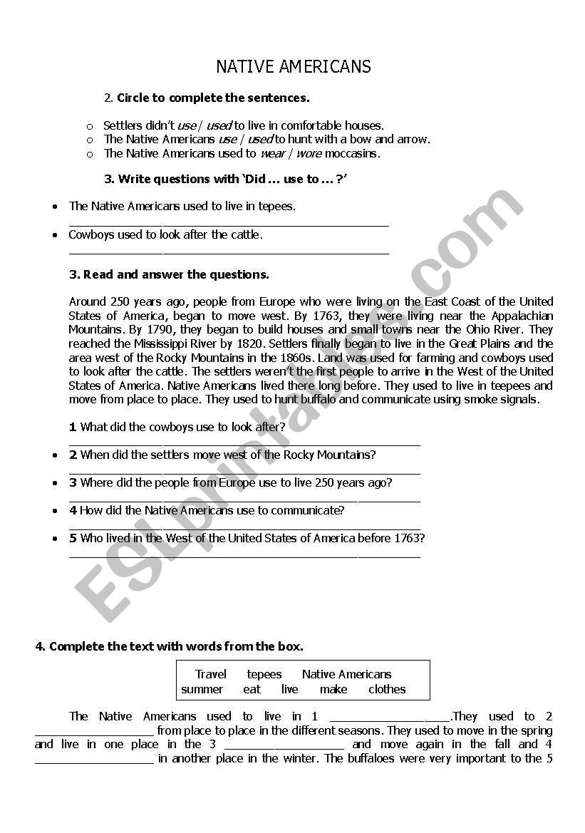 native americans worksheet