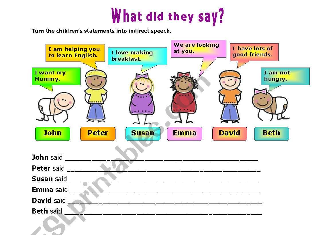 INDIRECT SPEECH 1 worksheet