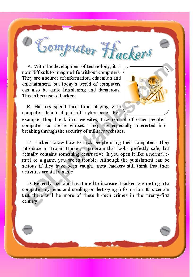 RC: Computer Hackers worksheet