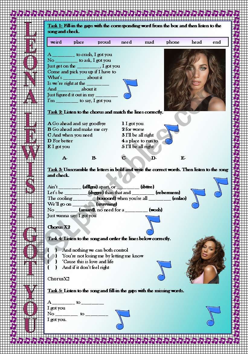 Leona Lewis I Got You LISTENING song-based activity (FULLY EDITABLE AND KEY INCLUDED!!!)
