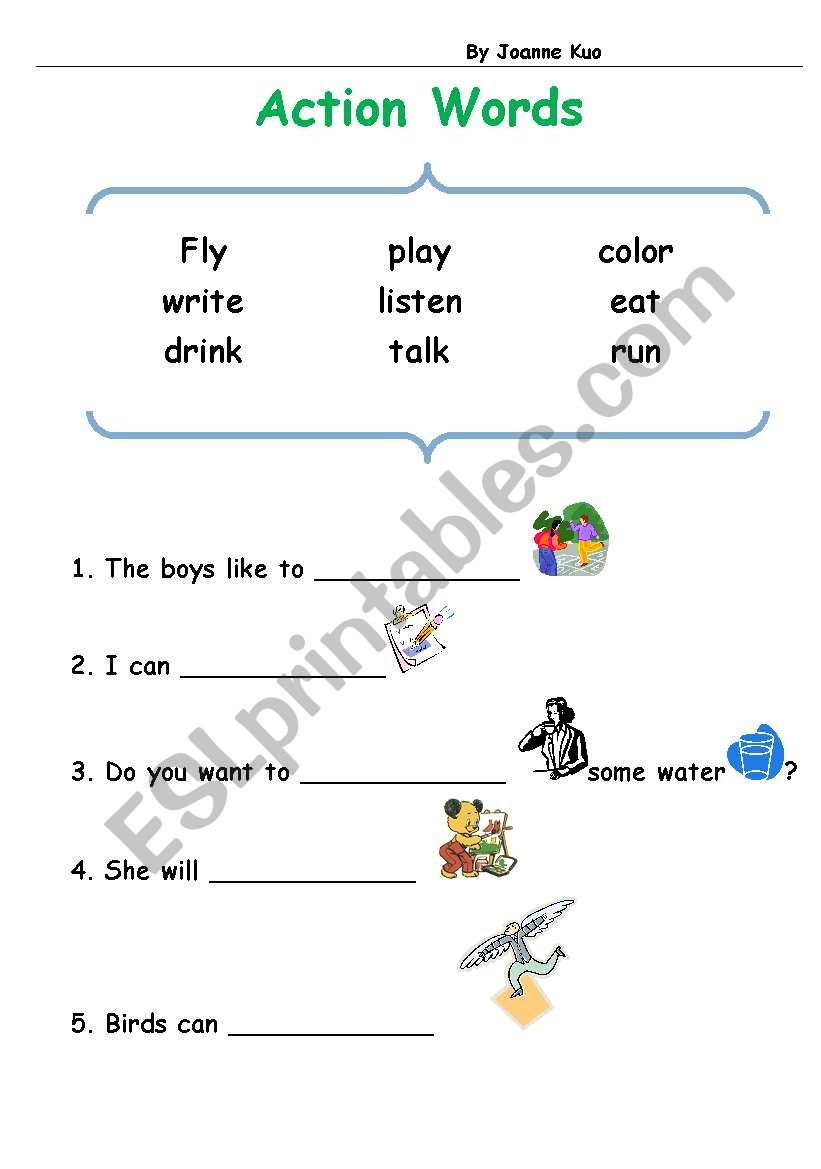 - English Worksheets: Action Words