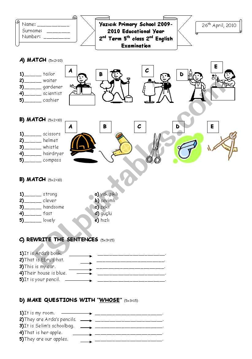 2nd term 5th grade 2nd exam worksheet