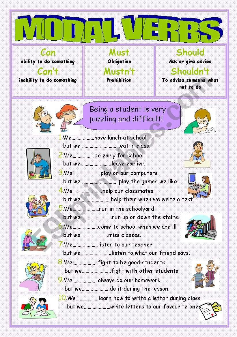 Modal verbs(can/can´t,must/mustn´t,should/shouldn´t)