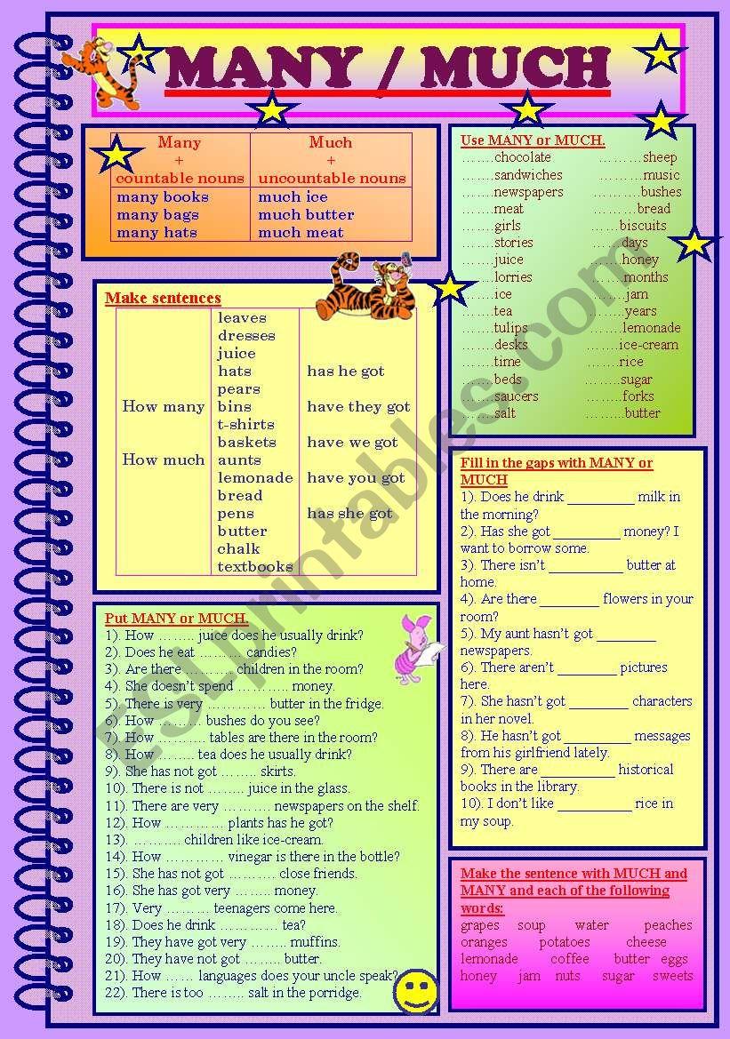 MANY / MUCH worksheet