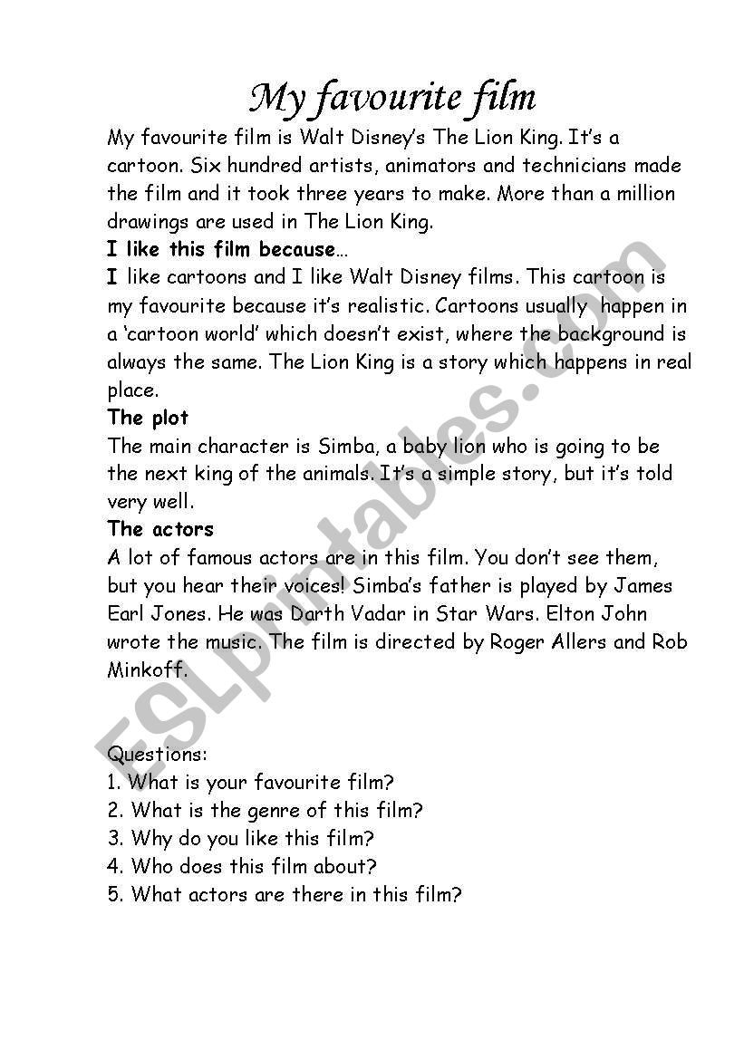 My favourite film worksheet