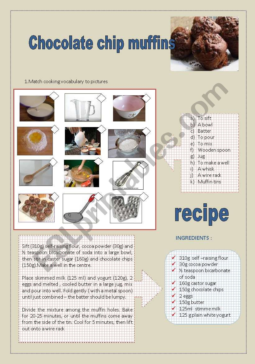 chocolate chip muffins recipe and cooking vocab