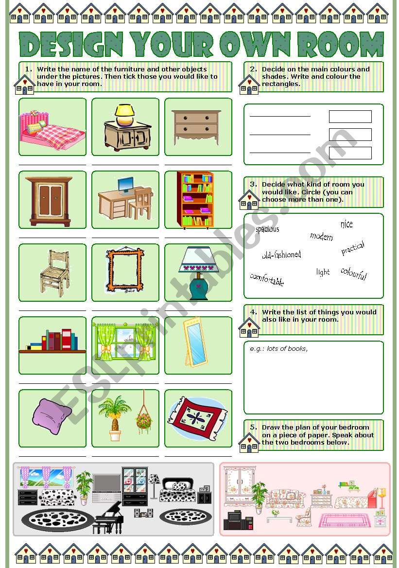 Design your own room esl worksheet by tecus - Design your own room ...