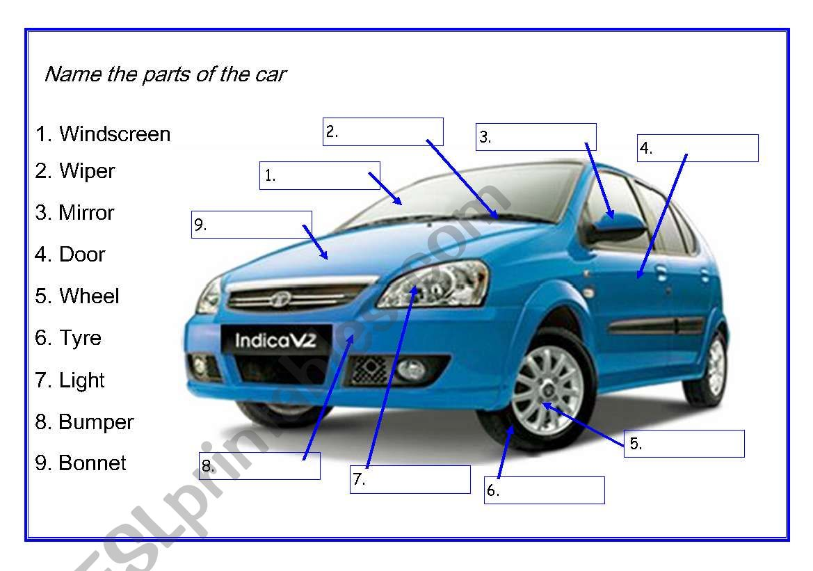 Name The Parts Of The Car Esl Worksheet By Apodo