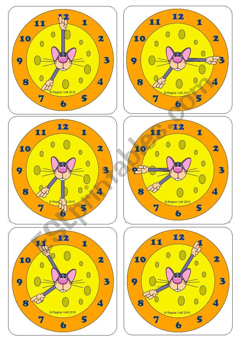 Telling the Time with Tino Topolino - Flashcards (Picture cards & Word Cards) (Editable)