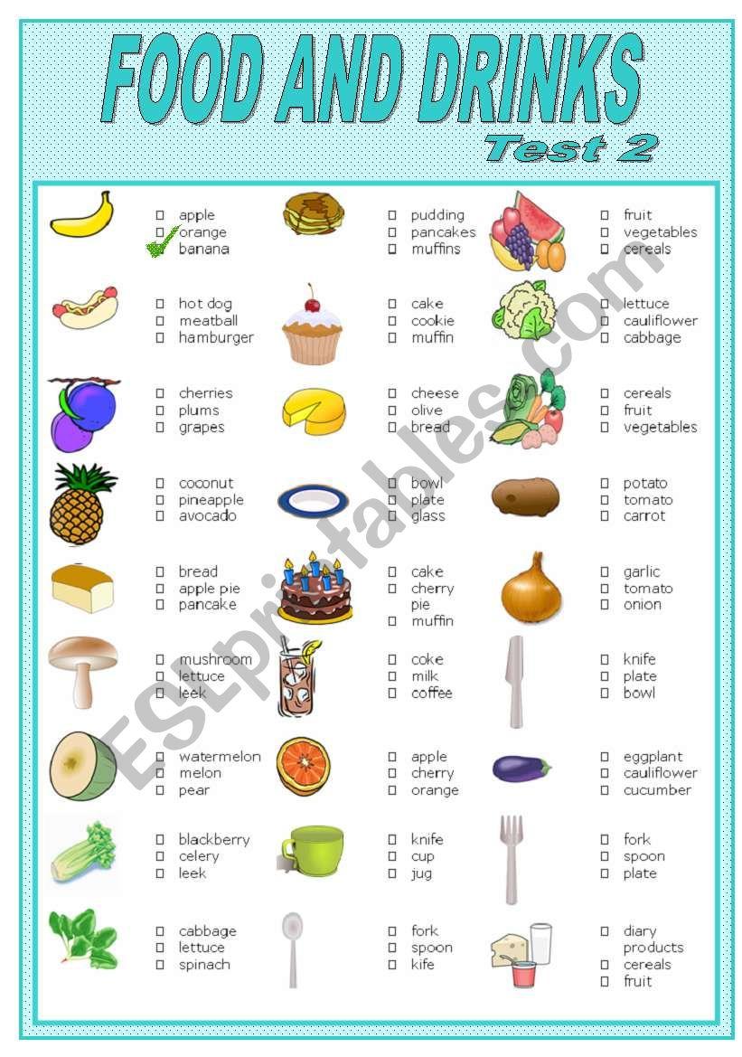 FOOD AND DRINKS    TEST-2 worksheet